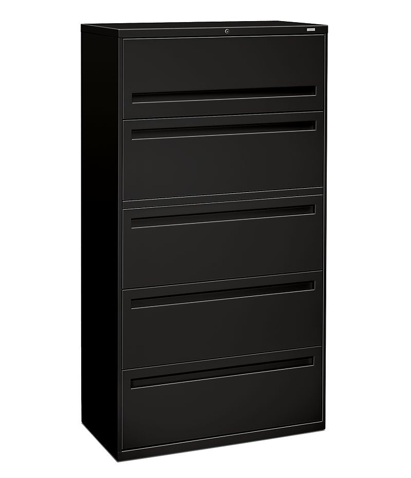 HON Brigade 700 Series 5-Drawer Lateral File Black Front Side View H785.L.P