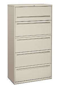 HON Brigade 700 Series 5-Drawer Lateral File White Front Side View H785.L.Q