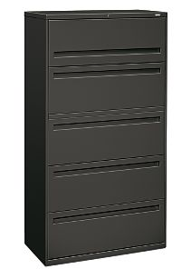 HON Brigade 700 Series 5-Drawer Lateral File Gray Front Side View H785.L.S