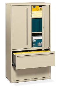HON Brigade 700 Series 2-Drawer Lateral File Light Brown Front Side View H785LS.L.L