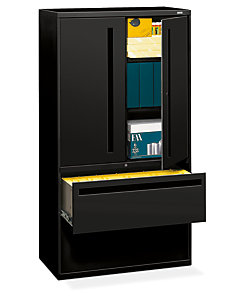HON Brigade 700 Series 2-Drawer Lateral File Black Front Side View H785LS.L.P