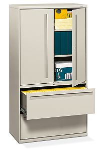 HON Brigade 700 Series 5-Drawer Lateral File White Front Side View H785LS.L.Q