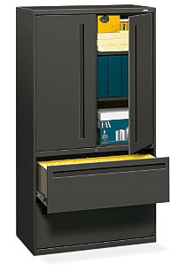 HON Brigade 700 Series 2-Drawer Lateral File Gray Front Side View H785LS.L.S