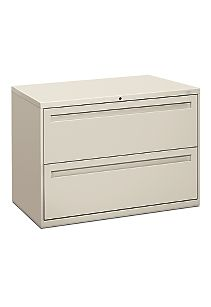 HON Brigade 700 Series 2-Drawer Lateral File Light Gray Front Side View H792.L.Q