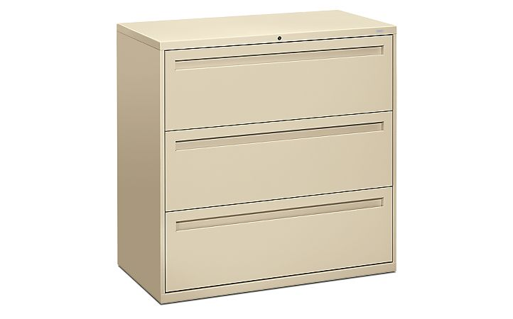 HON Brigade 700 Series 3-Drawer Lateral File Light Brown Front Side View H793.L.L