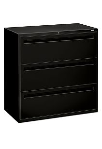 HON Brigade 700 Series 3-Drawer Lateral File Black Front Side View H793.L.P