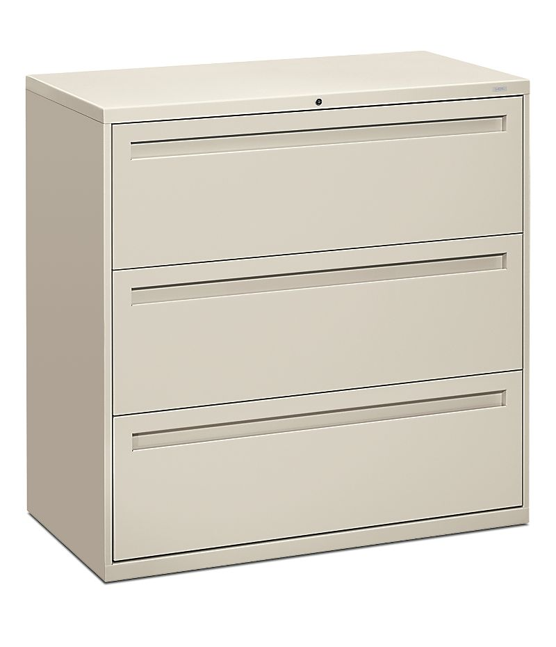 HON Brigade 700 Series 3-Drawer Lateral File White Front Side View H793.L.Q