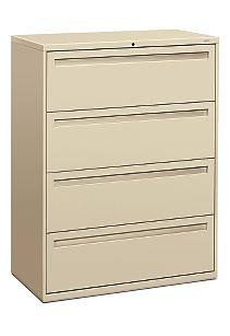 HON Brigade 700 Series 4-Drawer Lateral File Putty Front Side View H794.L.L