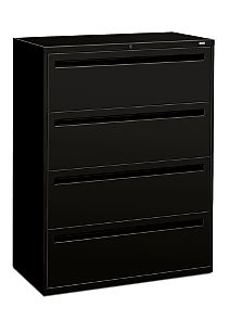 HON Brigade 700 Series 4-Drawer Lateral File Black Front Side View H794.L.P