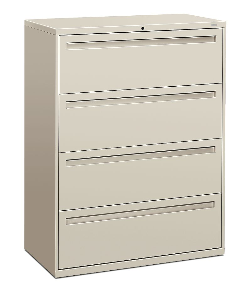 HON Brigade 700 Series 4-Drawer Lateral File Light Gray Front Side View H794.L.Q