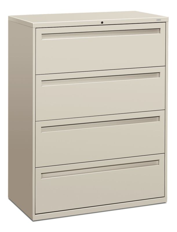 HON Brigade 700 Series 4 Drawer Lateral File Light Gray Front Side View  H794.