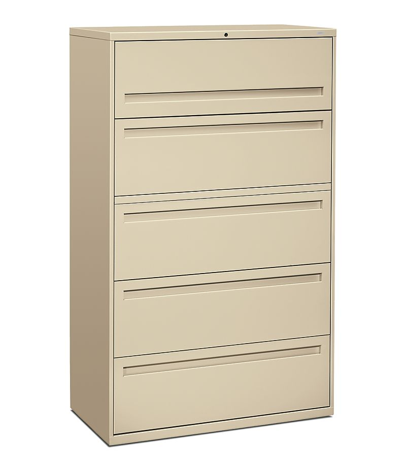 HON Brigade 700 Series 5-Drawer Lateral File Putty Front Side View H795.L.L