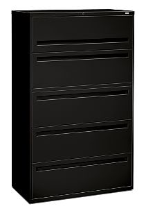HON Brigade 700 Series 5-Drawer Lateral File Black Front Side View H795.L.P