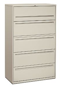 HON Brigade 700 Series 5-Drawer Lateral File Light Gray Front Side View H795.L.Q
