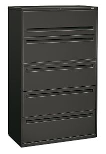HON Brigade 700 Series 5-Drawer Lateral File Light Charcoal Front Side View H795.L.S