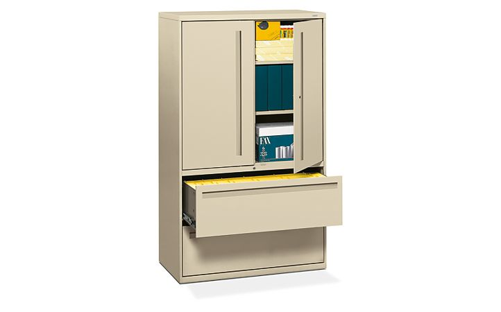 HON Brigade 700 Series 2-Drawer Lateral File Putty Front Side View H795LS.L.L