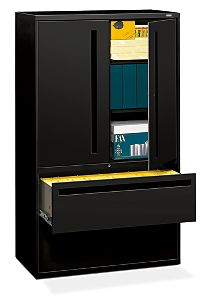 HON Brigade 700 Series 2-Drawer Lateral File Black Front Side View H795LS.L.P