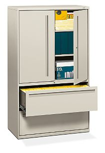 HON Brigade 700 Series 2-Drawer Lateral File Light Gray Front Side View H795LS.L.Q
