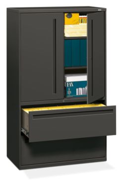 HON Brigade 700 Series 2-Drawer Lateral File Charcoal Front Side View H795LS.L.S