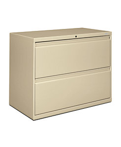 HON Brigade 800 Series 2-Drawer Lateral File Light Brown Front Side View H882.L.L