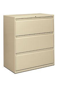 HON Brigade 800 Series 3-Drawer Lateral File Putty Color Front Side View H883.L.L