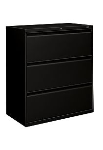 HON Brigade 800 Series 3-Drawer Lateral File Black Color Front Side View H883.L.P