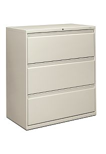 HON Brigade 800 Series 3-Drawer Lateral File Light Gray Color Front Side View H883.L.Q