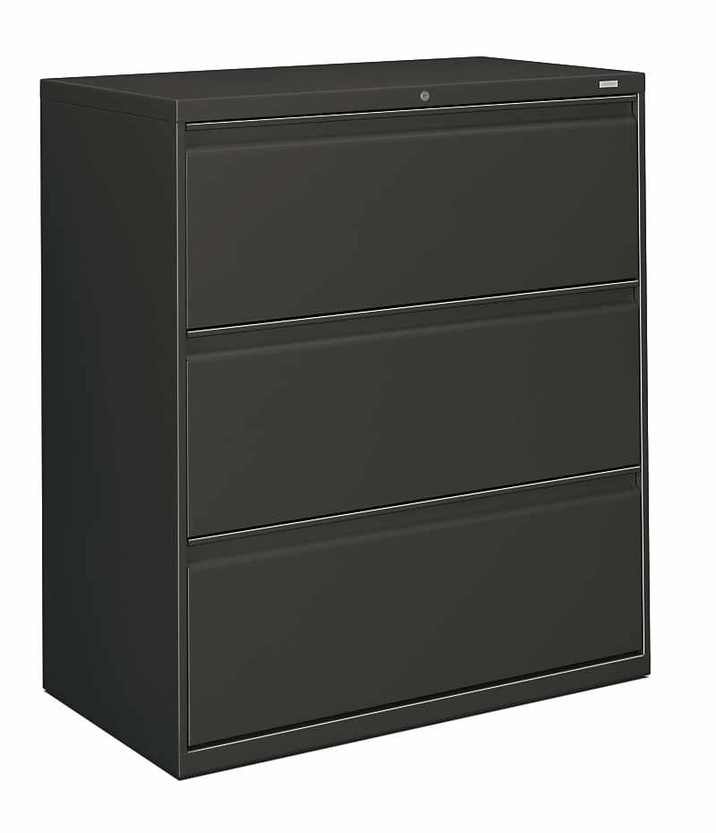 Incroyable HON Brigade 800 Series 3 Drawer Lateral File Charcoal Color Front Side View  H883.