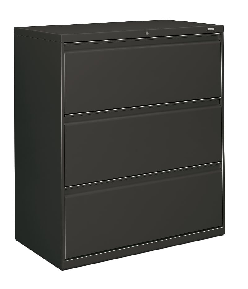HON Brigade 800 Series 3-Drawer Lateral File Charcoal Color Front Side View H883.L.S