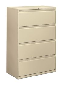 HON Brigade 800 Series 4-Drawer Lateral File Light Brown Front Side View H884.L.L