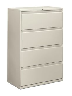 HON Brigade 800 Series 4-Drawer Lateral File White Front Side View H884.L.Q