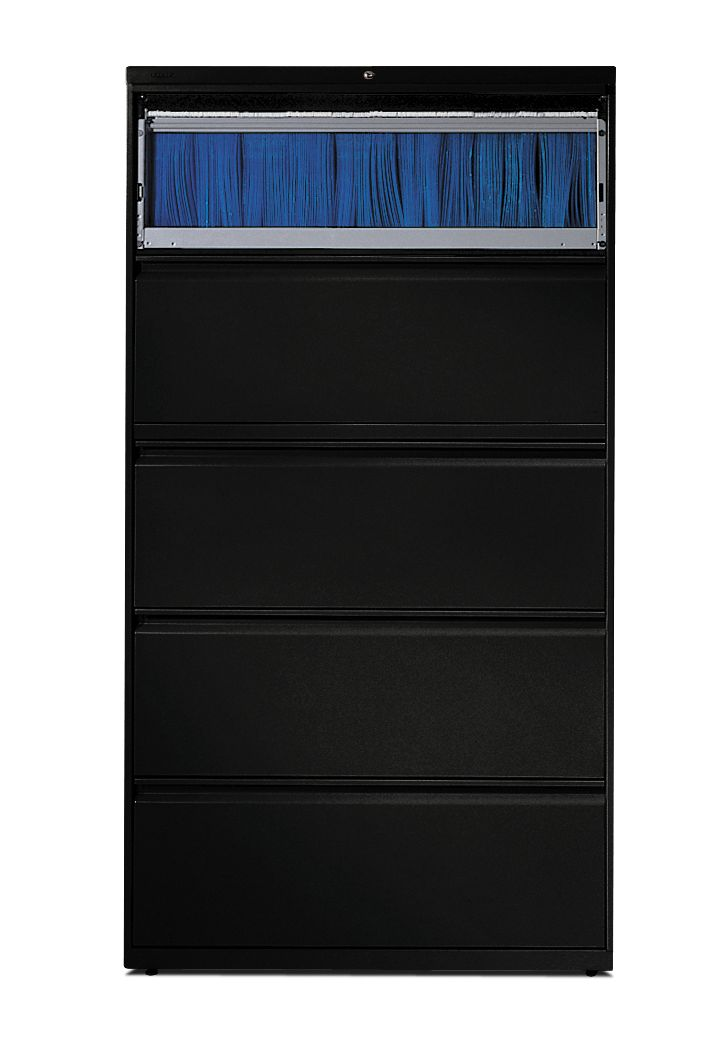 HON Brigade 800 Series 5-Drawer Lateral File Black Color Front View H885.L.P