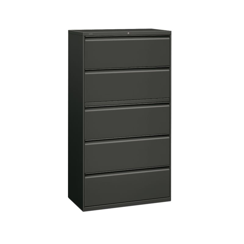 HON Brigade 800 Series 5 Drawer Lateral File Charcoal Color Front Side View  H885.