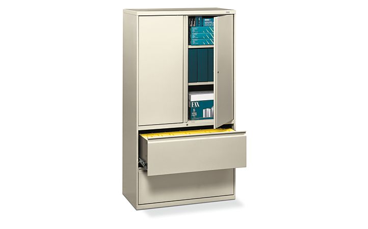 HON Brigade 800 Series 2-Drawer Lateral File Light Brown Front Side View H885LS.L.L
