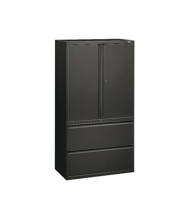 HON Brigade 800 Series 2-Drawer Lateral File Gray Front Side View H885LS.L.S