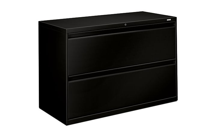 HON Brigade 800 Series 2-Drawer Lateral File Black Color Front Side View H892.L.P