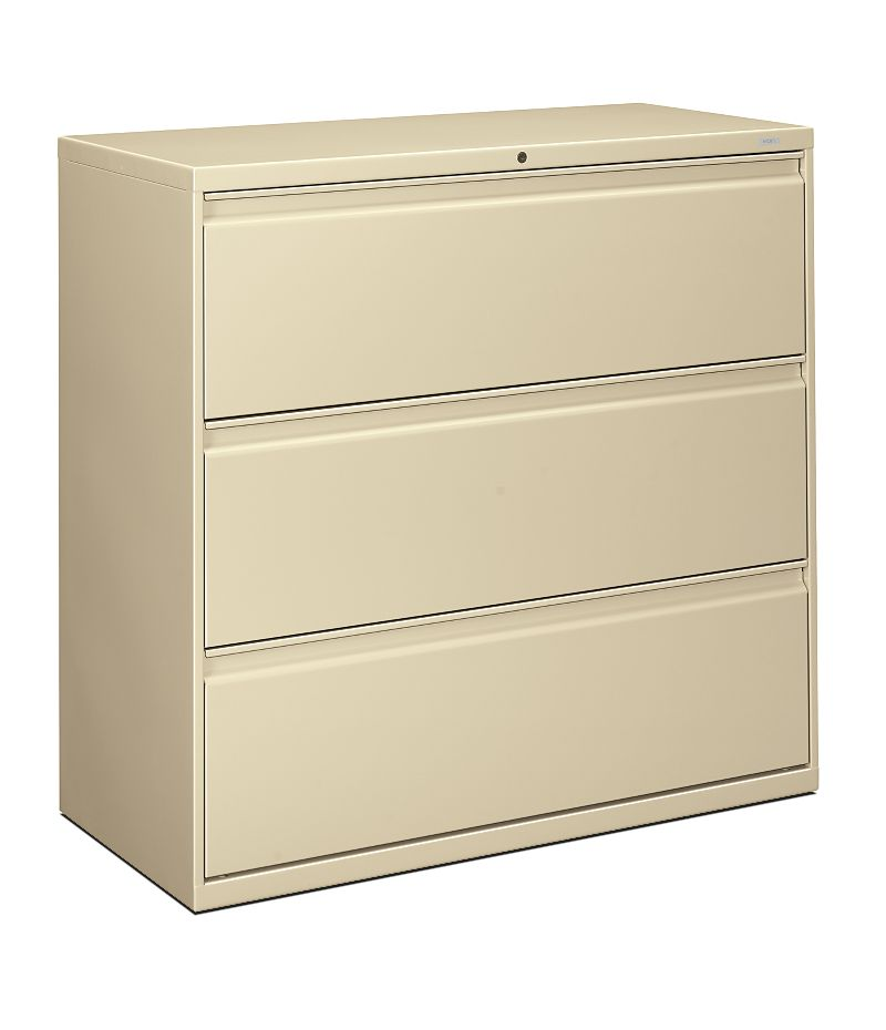 HON Brigade 800 Series 3-Drawer Lateral File Light Brown Front Side View H893.L.L