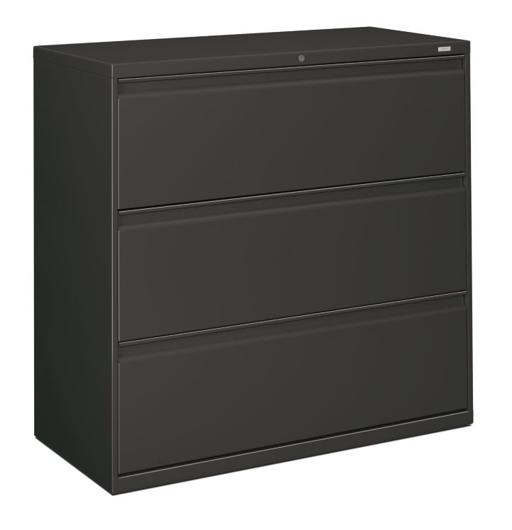 HON Brigade 800 Series 3-Drawer Lateral File Gray Front Side View H893.L.S