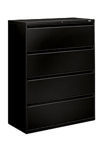 HON Brigade 800 Series 4-Drawer Lateral File Black Front Side View H894.L.P
