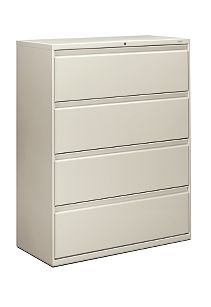 HON Brigade 800 Series 4-Drawer Lateral File Light Gray Front Side View H894.L.Q