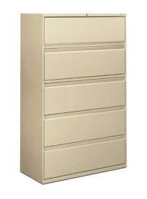 HON Brigade 800 Series 5-Drawer Lateral File Putty Color Front Side View H895.L.L