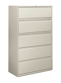 HON Brigade 800 Series 5-Drawer Lateral File Light Gray Color Front Side View H895.L.Q