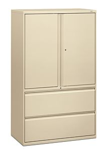 HON Brigade 800 Series 2-Drawer Lateral File Putty Color Front Side View H895LS.L.L