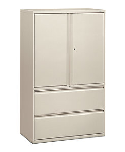 HON Brigade 800 Series 2-Drawer Lateral File Light Gray Front Side View H895LS.L.Q