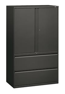 HON Brigade 800 Series 2-Drawer Lateral File Charcoal Color Front Side View H895LS.L.S