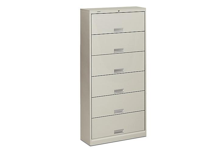 HON Brigade Bookcase 600 Series 6-Shelf File White Front Side View H626.L.Q