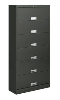 HON Brigade Bookcase 600 Series 6-Shelf File Gray Front Side View H626.L.S