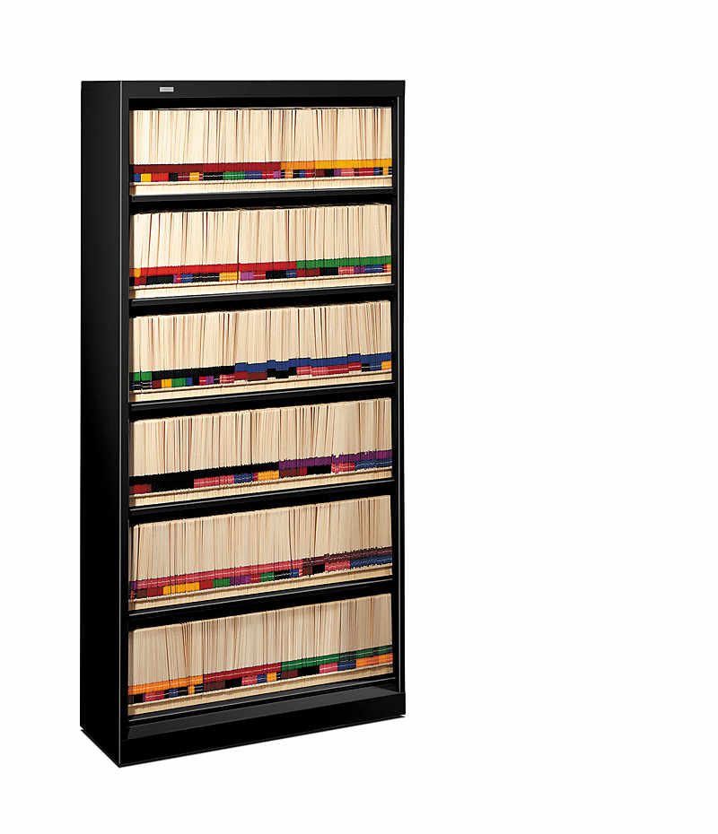 hon brigade bookcases 600 series 6shelf file black front side view h626nlp