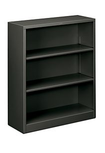 HON Brigade 3-Shelf Bookcase Charcoal Front Side View HS42ABC.S