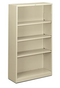 HON Brigade 4-Shelf Bookcase Putty Front Side View HS60ABC.L